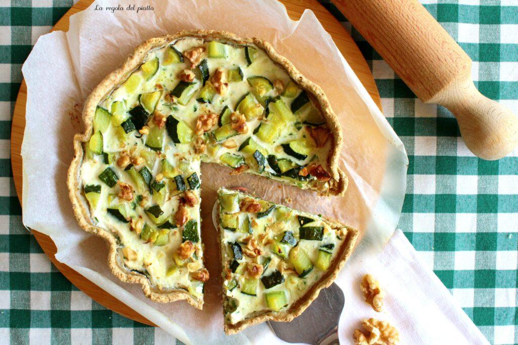 Torta salata di ricotta, zucchine e noci