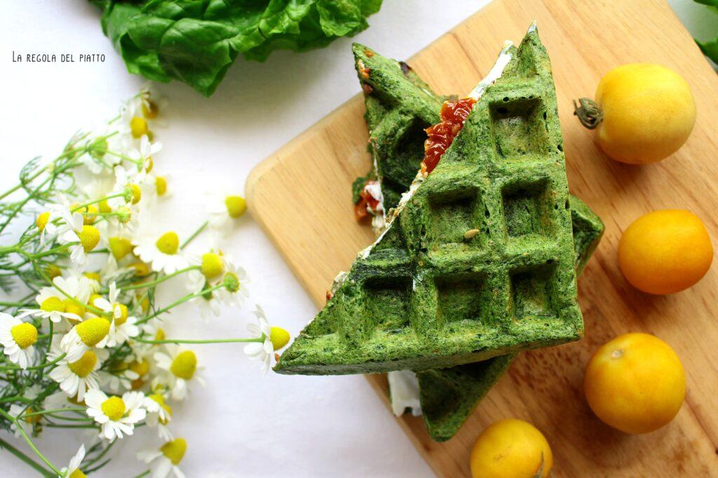 Waffle agli spinaci